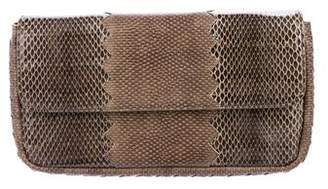 Bottega Veneta Snakeskin Flap Clutch