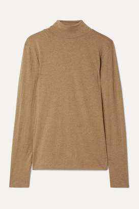 Handvaerk - Pima Cotton And Alpaca-blend Jersey Turtleneck Top - Tan