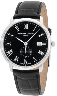 Frederique Constant Men's 40mm Black Leather Band Steel Case Sapphire Crystal Quartz Watch FC-245BR5S6