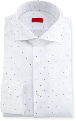 Isaia Dobby-Dot Dress Shirt, White/Navy