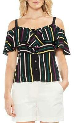 Vince Camuto Topic Heat Paradise Multicolored Striped Blouse
