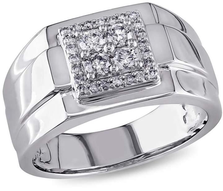 Amour White Square 1/2 CT Diamond Men's Ring Size 13
