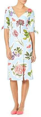 Carolina Herrera Elbow-Sleeve Floral Collage-Print Cotton Faille Sheath Dress
