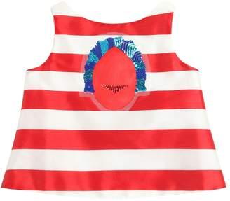 Embellished Striped Shantung Top