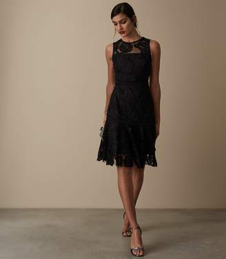 Reiss ADIA LACE ASYMMETRIC HEM DRESS Black