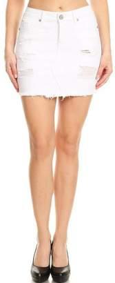 Enjean Distressed Denim Skirt