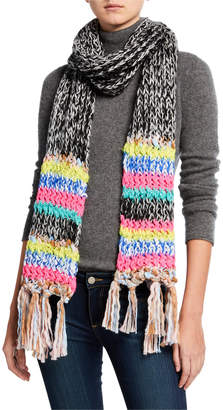Collection XIIX Marled Mixed Stripe Fringe Scarf