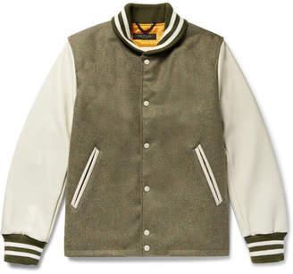 Rag & Bone Golden Bear Leather-Panelled Wool Bomber Jacket