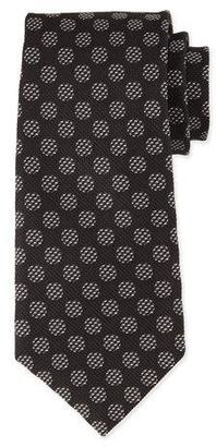 TOM FORD Large Dot-Print Silk Tie, White/Black $250 thestylecure.com