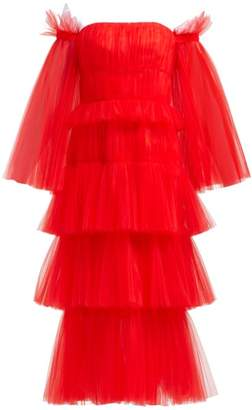 Carolina Herrera Off The Shoulder Tiered Tulle Midi Dress - Womens - Red