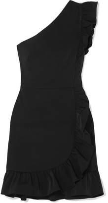 J.Crew Yass One-shoulder Ruffled Twill Mini Dress - Black
