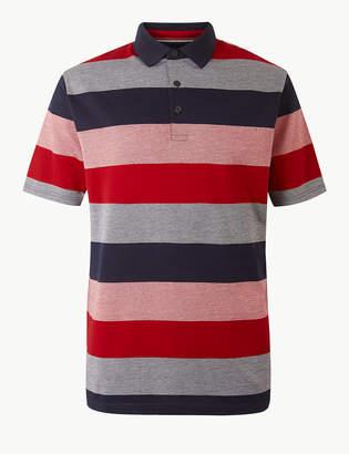 df0fcb31f3e Blue HarbourMarks and Spencer Supima Cotton Striped Polo Shirt