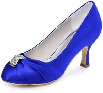 Elegantpark HC1526 Women Pumps Satin Rhinestones Closed Toe Mid Heel Wedding Evening Party Shoes US 10