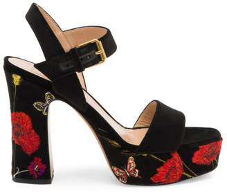 Valentino Poppy Embroidered Platform Sandals