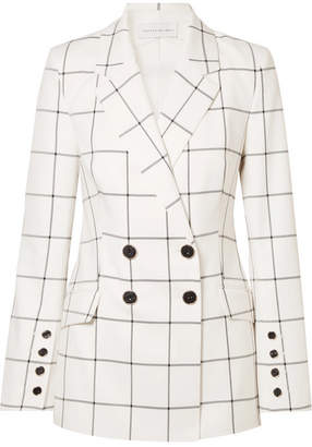 Rebecca Vallance Pierre Double-breasted Checked Twill Blazer - Ivory