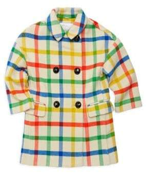 Burberry Little Girl's& Girl's Agnella Check Double-Breasted Wool Coat