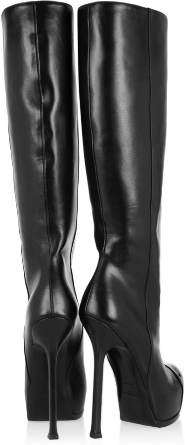 Yves Saint Laurent Tribtoo leather and patent knee boots