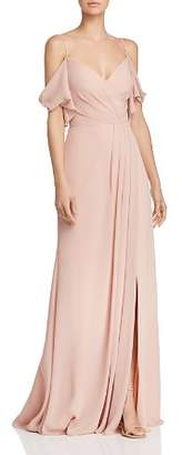 Watters Aldridge Cold-Shoulder Gown