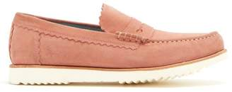 Grenson Ashley Raised Sole Suede Penny Loafers - Mens - Pink