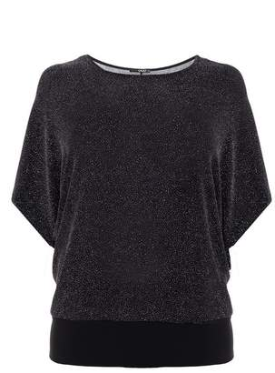Quiz Curve Black Glitter Batwing 3/4 Sleeves Top