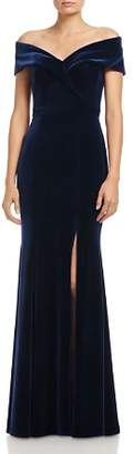Aqua Off-the-Shoulder Fluted Velvet Gown - 100% Exclusive