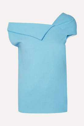 Roland Mouret Raywell Draped Wool-crepe Top - Light blue