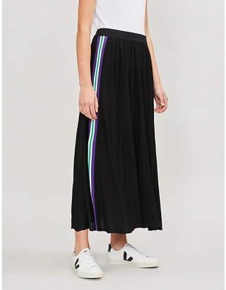 Sandro Side-stripe pleated crepe midi skirt