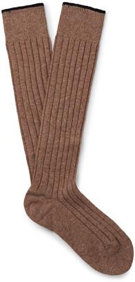 Brunello Cucinelli Mélange Cashmere Over-the-Calf Socks $375 thestylecure.com