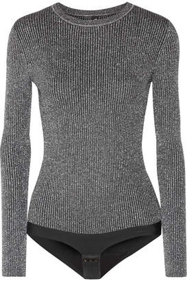 Tuxe The Pacesetter Metallic Ribbed-knit Bodysuit - Silver