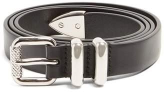 Prada Skinny Leather Belt - Mens - Black