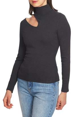 1 STATE 1.STATE Shoulder Cutout Mock Neck Rib Knit Top