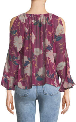 Ella Moss Floral Haze Cold-Shoulder Top