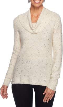 Ruby Rd Long-Sleeve Sequin Cowl-Neck Sweater
