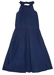 Un Deux Trois Girl's Textured Halter Fit & Flare Dress
