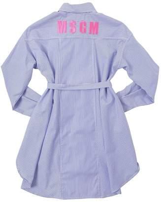MSGM Embroidered Cotton Poplin Shirt Dress