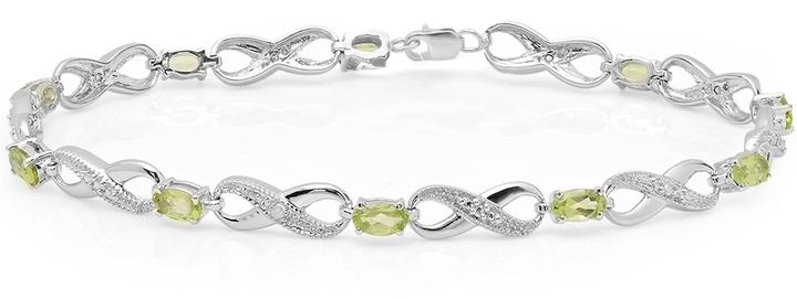 Ice 2 3/8 CT TW Peridot and White Diamond 14K White Gold Infinity Tennis Bracelet