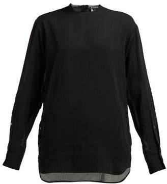Ann Demeulemeester Buttoned Cotton Blend Blouse - Womens - Black