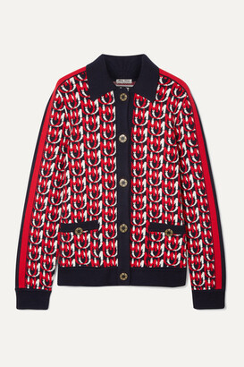 Miu Miu Wool-blend Jacquard-knit Cardigan - Navy
