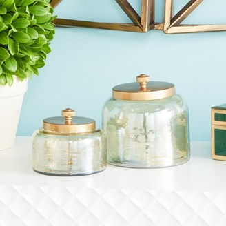"""Cosmoliving By Cosmopolitan CosmoLiving Small, Round, Decorative Gold Smoked Glass Jars with Bronze Metal Lids   Set of 2: 5"""" x 5"""", 4"""" x 4"""""""