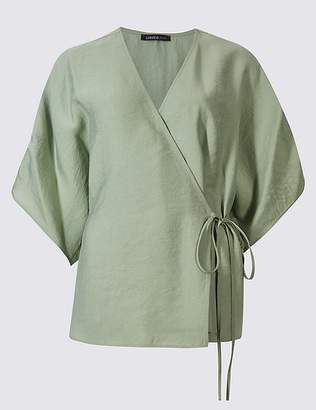 Marks and Spencer V-Neck 3/4 Sleeve Wrap Top