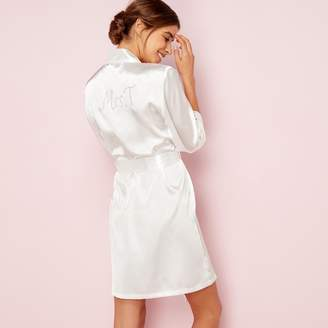 The Collection - Ivory Bridal 'Mrs T' Satin Dressing Gown