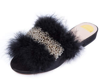 Edie Beaded Feather Slide Sandal