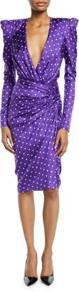 Alexandre Vauthier Polka-Dot Wrapped-Waist Puff-Shoulder Sheath Dress