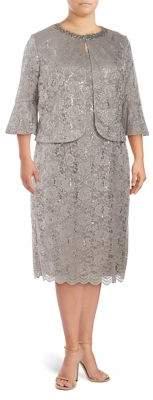 Alex Evenings Plus Two-Piece Embellished Bell Jacket & Tea Dress Set