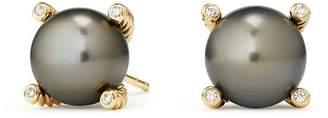 David Yurman Solari Cultured Tahitian Gray Pearl Earrings with Diamonds in 18K Gold