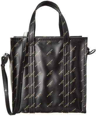 Balenciaga Bazar Small Logo Printed Leather Shopper Tote
