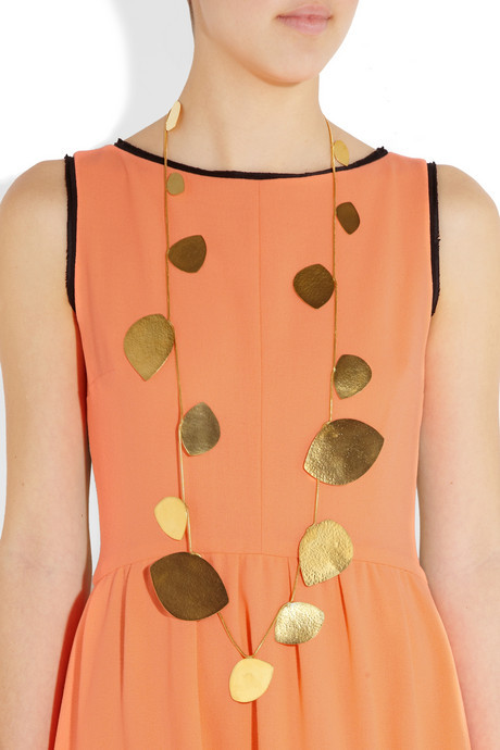 Herve Van Der Straeten Hammered gold-plated teardrop necklace