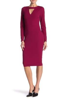 Hale Bob Long Sleeve Cutout Midi Dress