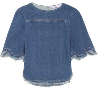 See by Chloe Scalloped denim top