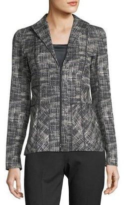 Lafayette 148 New York Britta Urban Grid Zip-Front Jacket $498 thestylecure.com